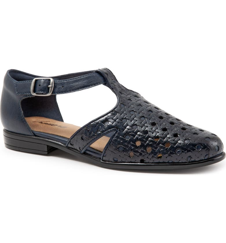 TROTTERS Leatha Open Weave Skimmer Flat, Main, color, NAVY LEATHER