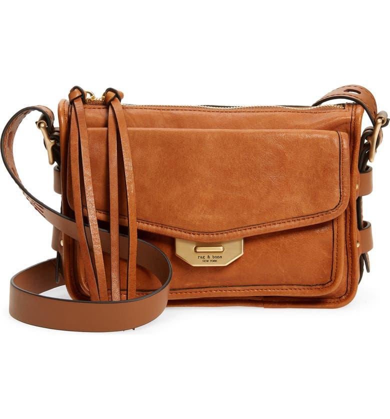 RAG & BONE Small Field Leather Crossbody Bag, Main, color, BROWN