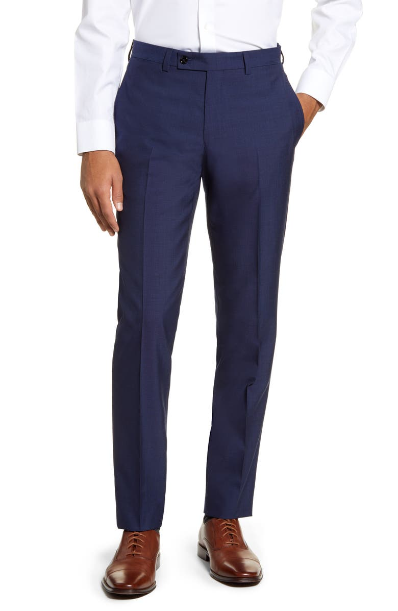 TED BAKER LONDON Jefferson Flat Front Solid Wool Trousers, Main, color, BLUE