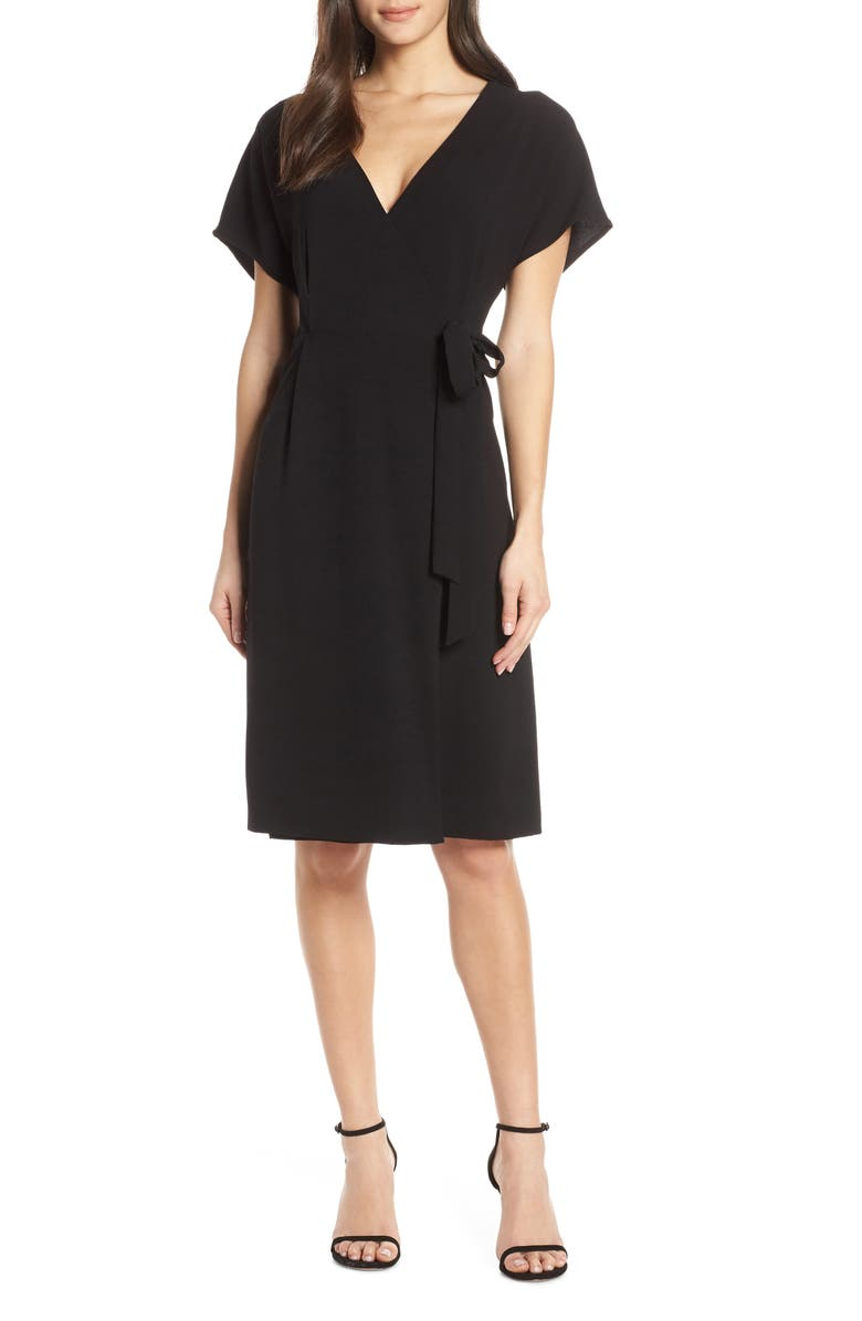 CHARLES HENRY Wrap Dress, Main, color, BLACK