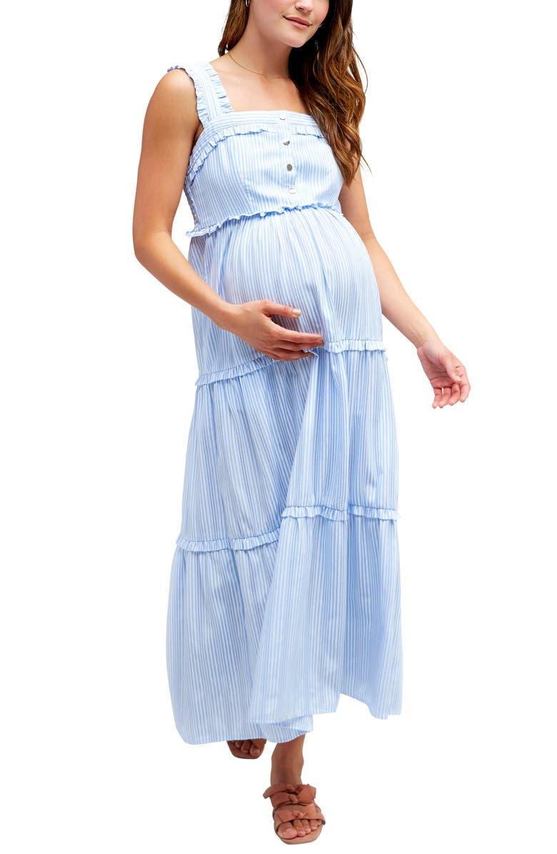 NOM MATERNITY Emma Maternity/Nursing Midi Sundress, Main, color, SKY STRIPE