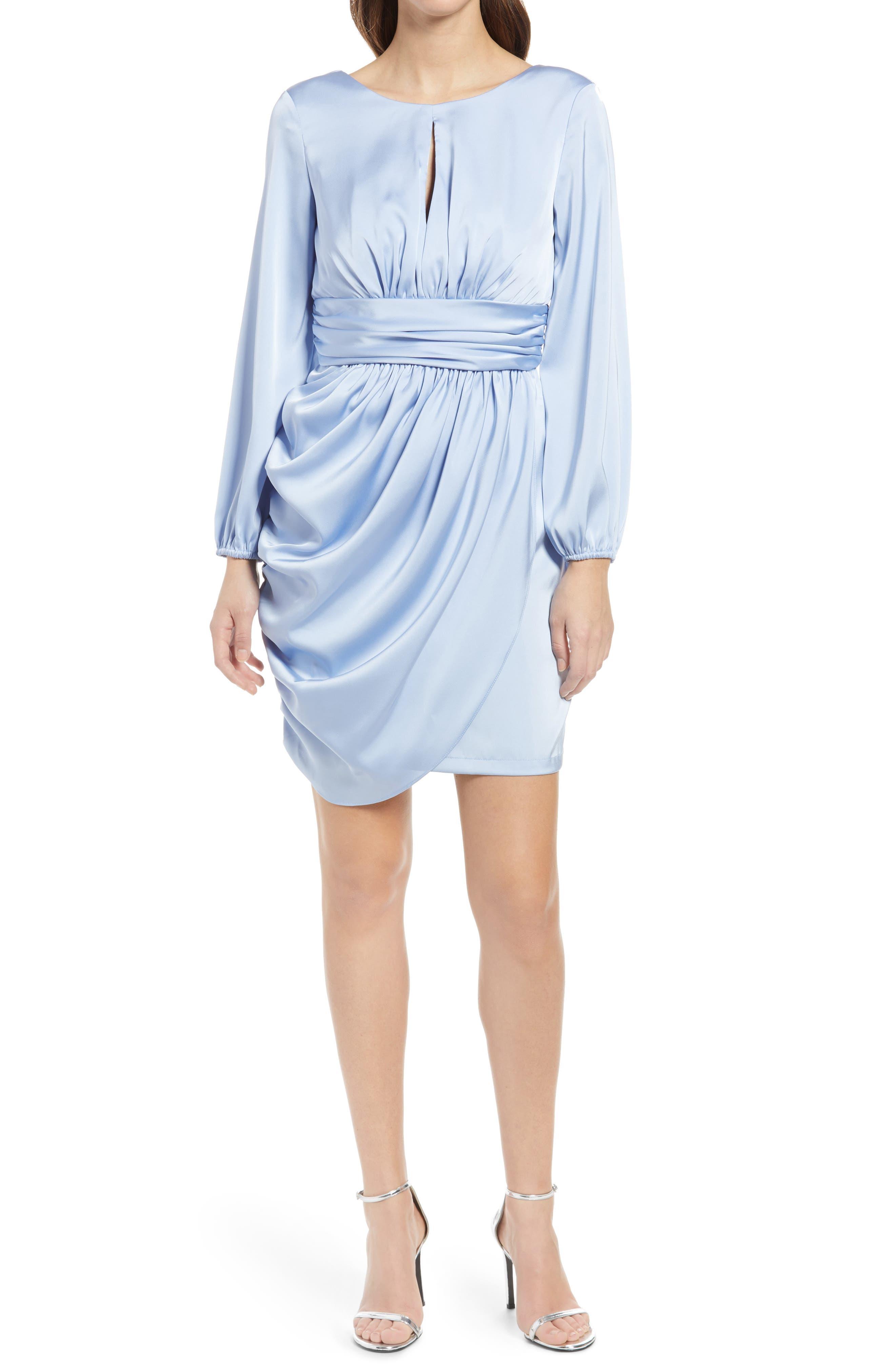 80s Dresses | Casual to Party Dresses Womens Chi Chi London Eva Long Sleeve Minidress Size 8 - Blue $120.00 AT vintagedancer.com