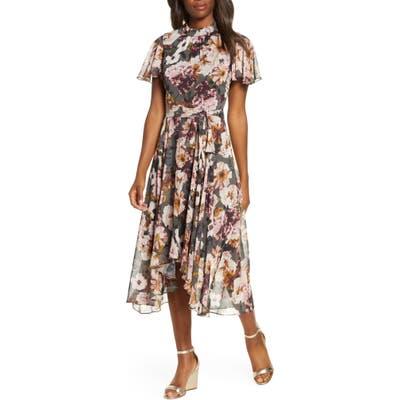 Eliza J Floral Mock Neck Chiffon Midi Dress, Black