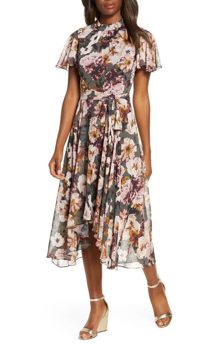 ELIZA J Floral Mock Neck Chiffon Midi Dress, Main, color, BLACK MULTI