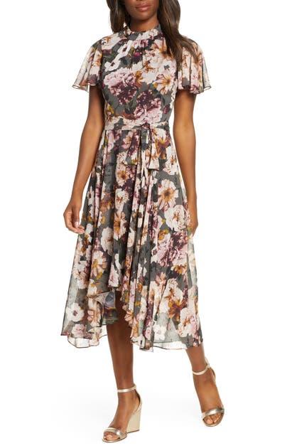 Eliza J Floral Mock Neck Chiffon Midi Dress In Black Multi