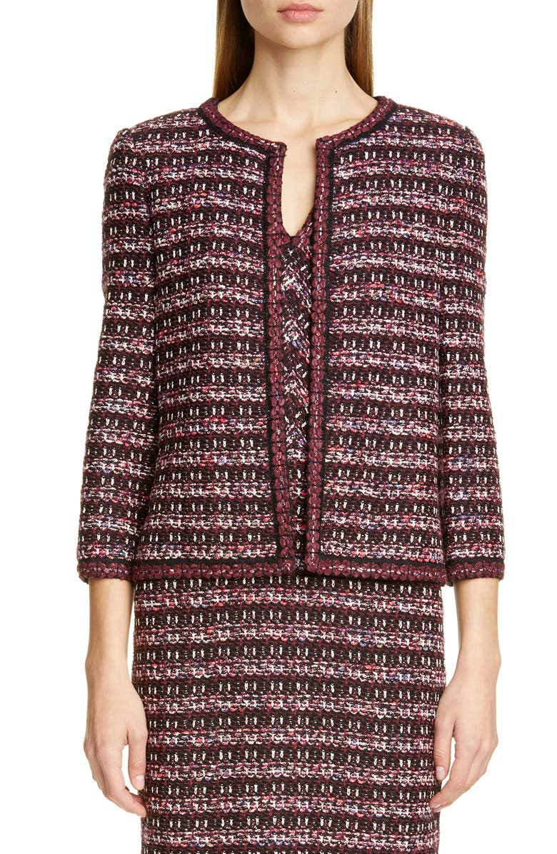 ST. JOHN COLLECTION Multi Tuck Tweed Knit Jacket, Main, color, PLUM MULTI
