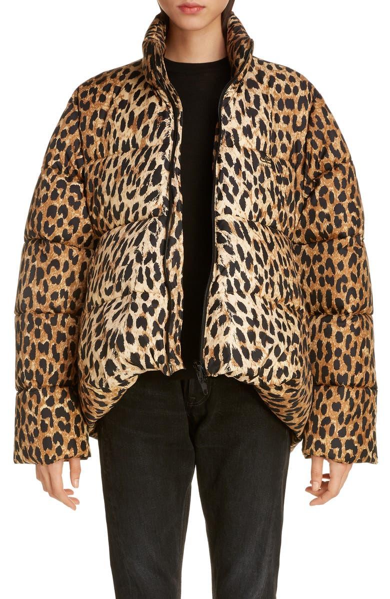 BALENCIAGA Leopard Print Nylon Cocoon Puffer Coat, Main, color, BEIGE