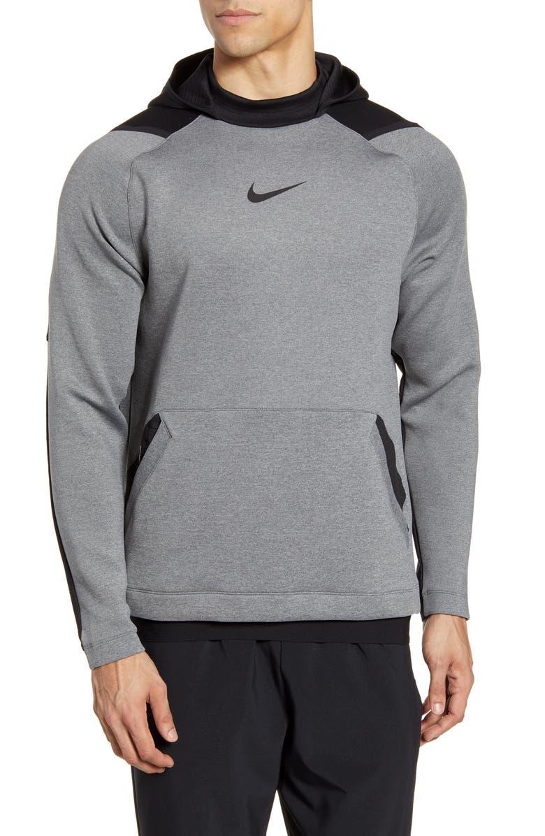 NIKE Pro Dri-FIT Fleece Hoodie, Main, color, CHARCOAL HEATHER/ BLACK