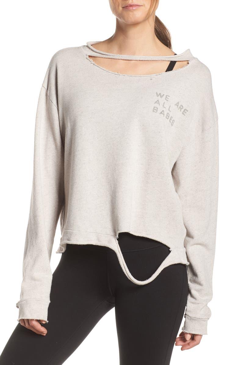 GOOD HYOUMAN Blaise Babes Ripped Sweatshirt, Main, color, 650