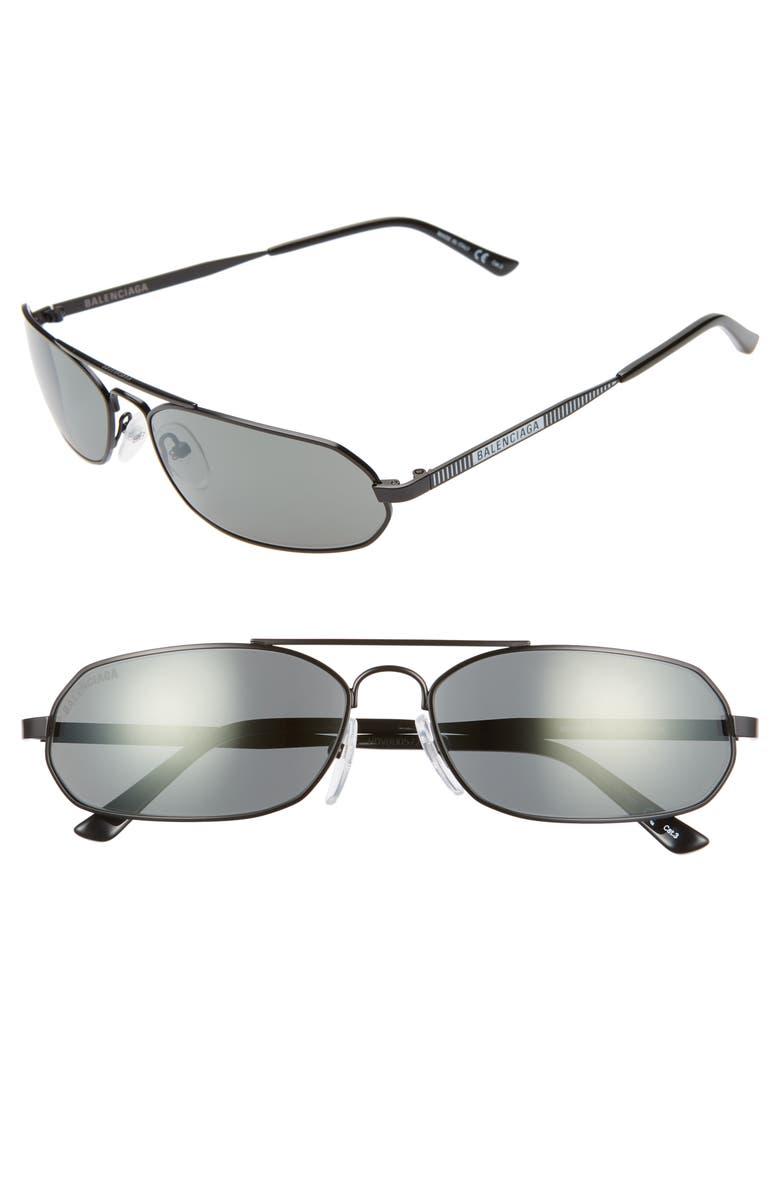 BALENCIAGA 61mm Angular Sunglasses, Main, color, 001
