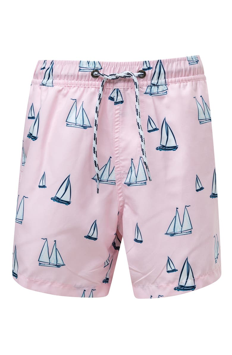 SNAPPER ROCK Sail Away Swim Trunks, Main, color, PINK
