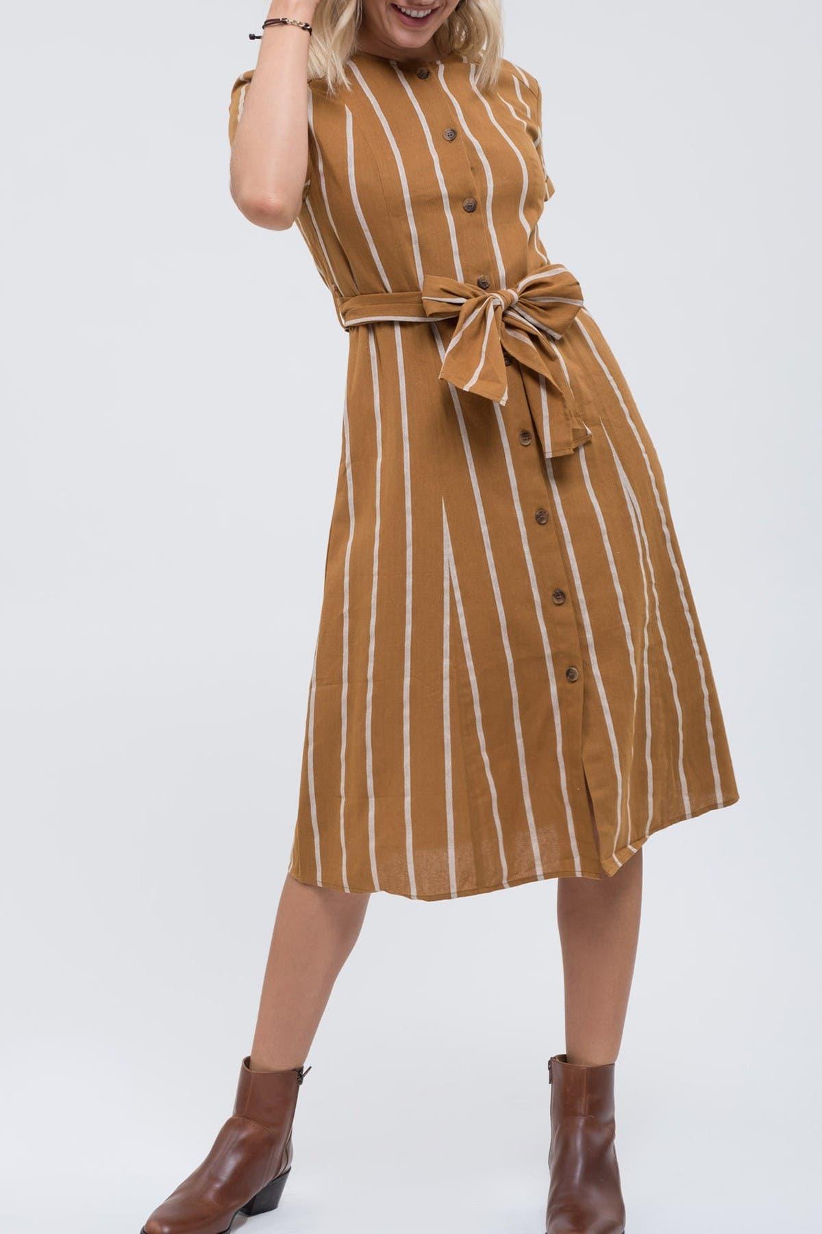 Image of Blu Pepper Short Sleeve Stripe Waist Tie Dress