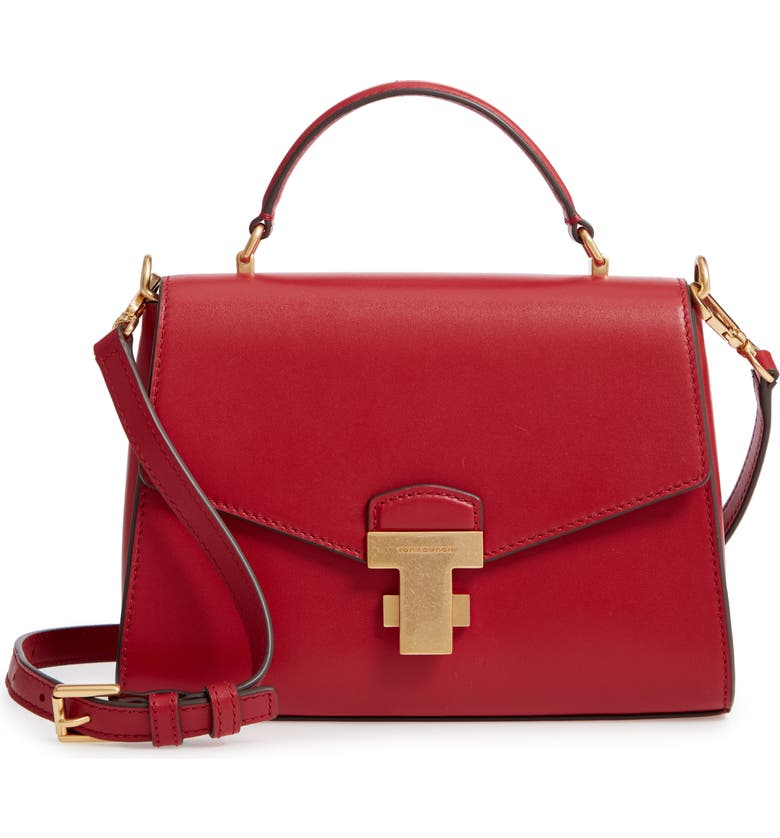 TORY BURCH Small Juliette Leather Satchel, Main, color, 600