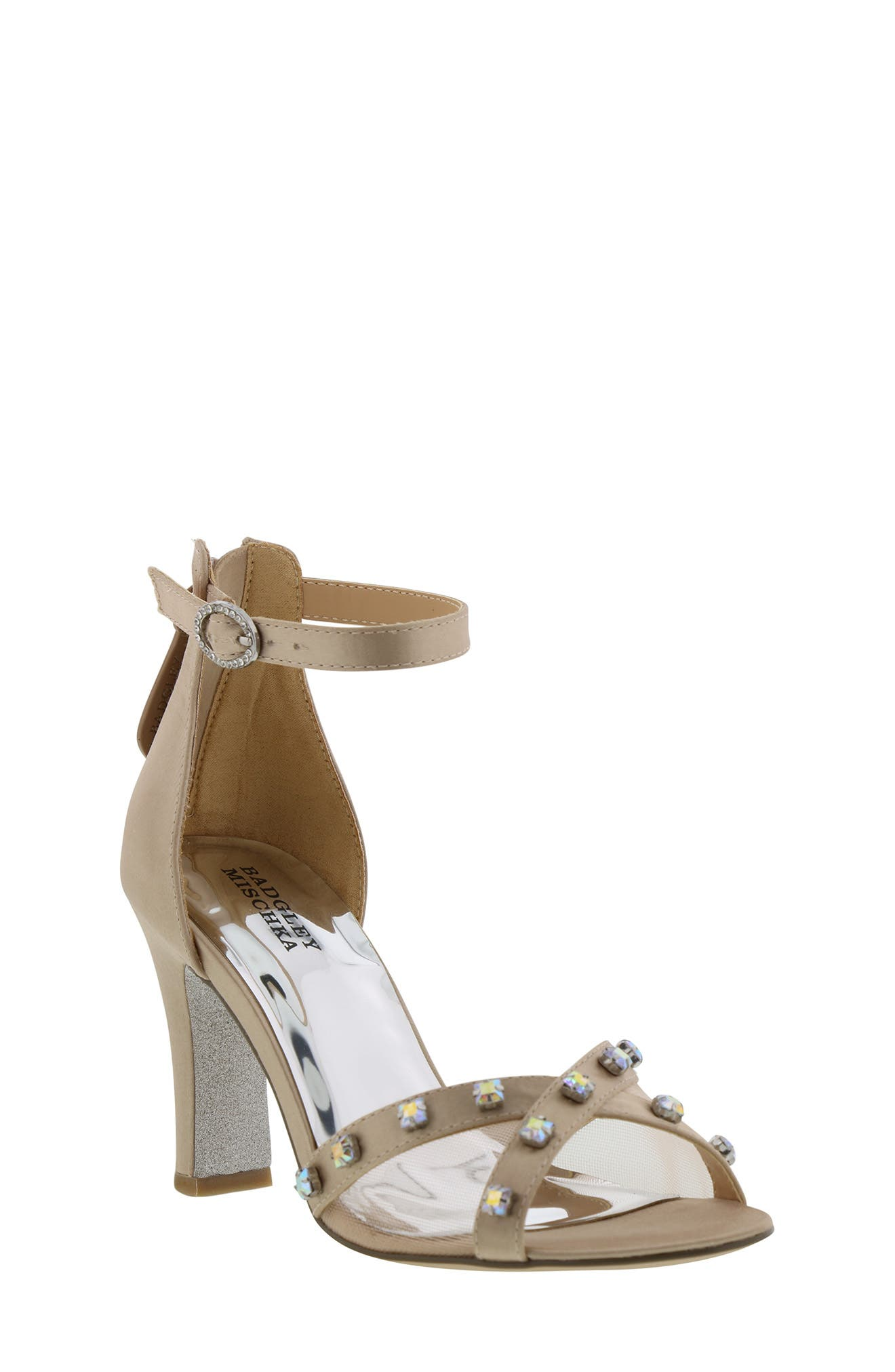 ,                             Badgley Mischka Kendall Glam Sparkle Sandal,                             Main thumbnail 1, color,                             CHAMPAGNE