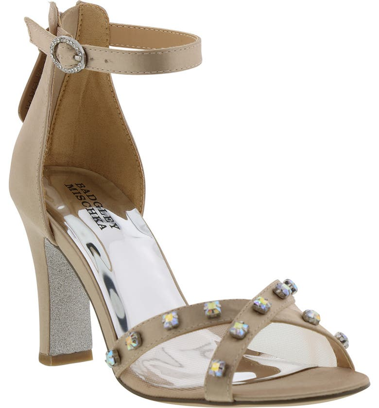 BADGLEY MISCHKA COLLECTION Badgley Mischka Kendall Glam Sparkle Sandal, Main, color, CHAMPAGNE