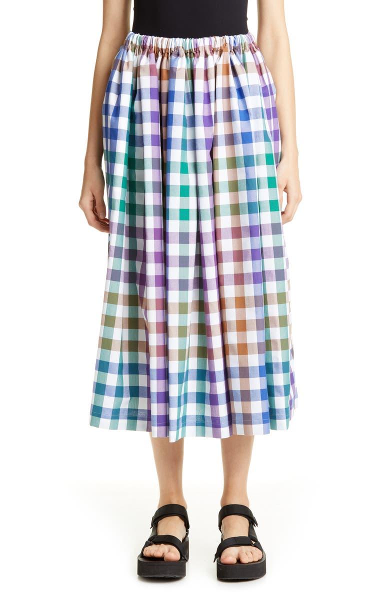 TRICOT COMME DES GARÇONS Madras Plaid & Rose Print Skirt, Main, color, 960