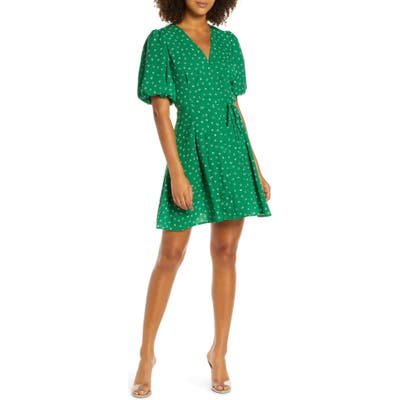 French Connection Adelise Puff Sleeve Fit & Flare Minidress, Green