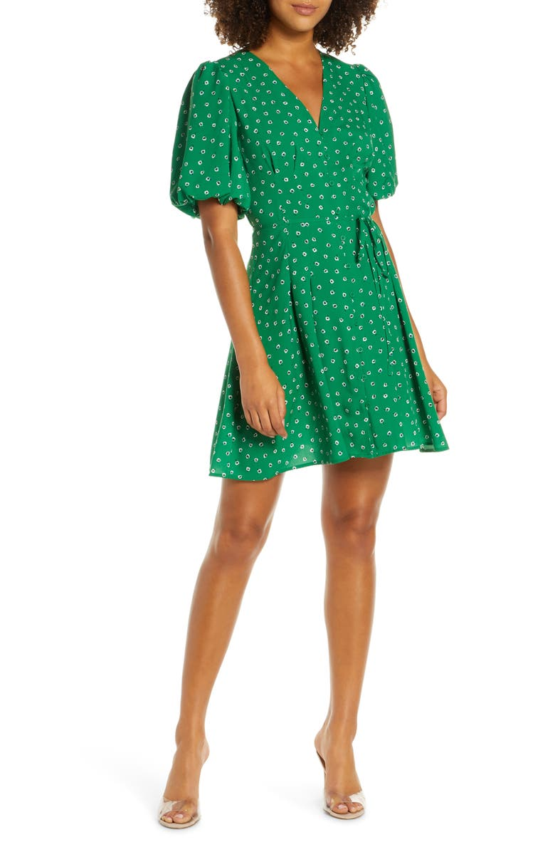 FRENCH CONNECTION Adelise Puff Sleeve Fit & Flare Minidress, Main, color, FERN GREEN