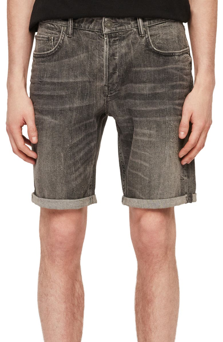 ALLSAINTS Switch Straight Denim Shorts, Main, color, GREY