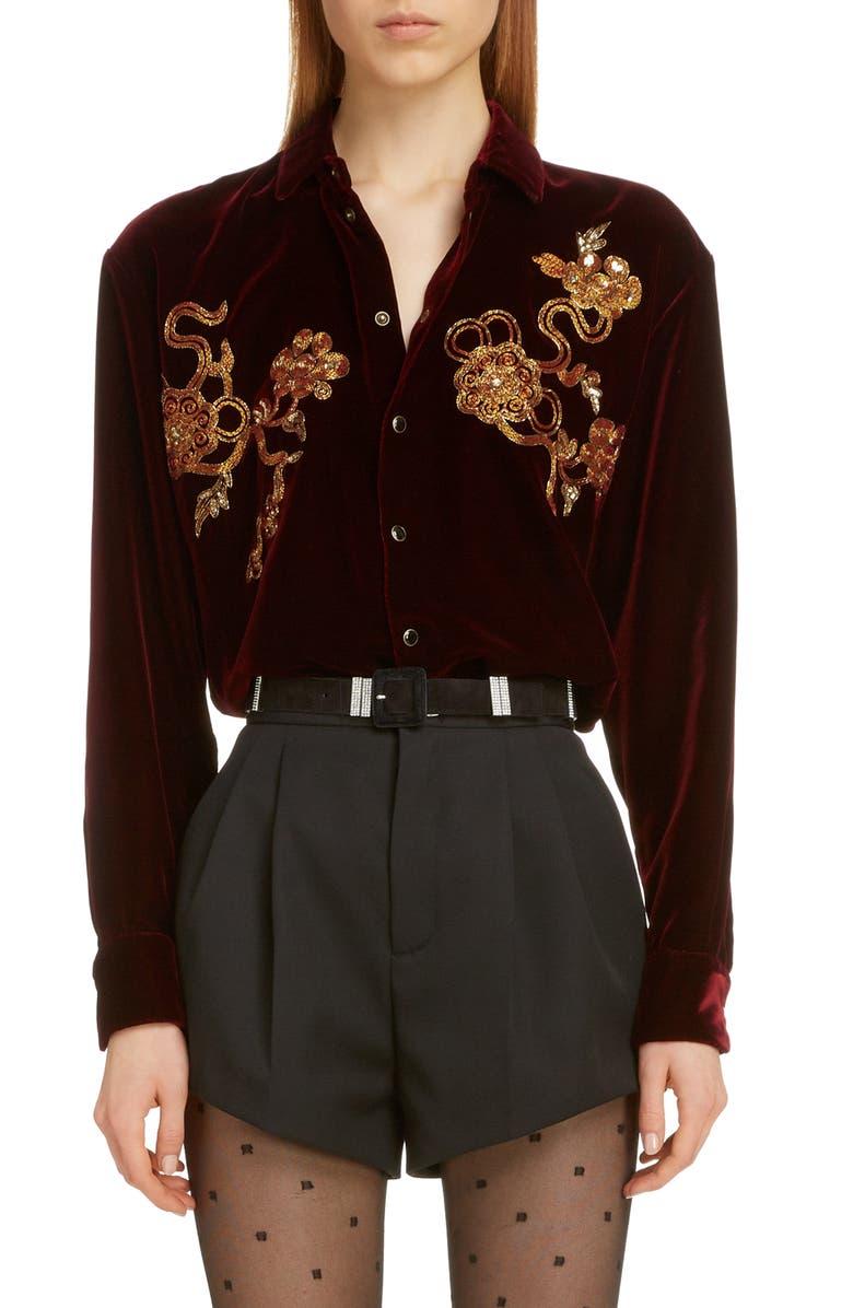 SAINT LAURENT Saint Lauren Embroidered Chinoiserie Velvet Shirt, Main, color, BORDEAUX