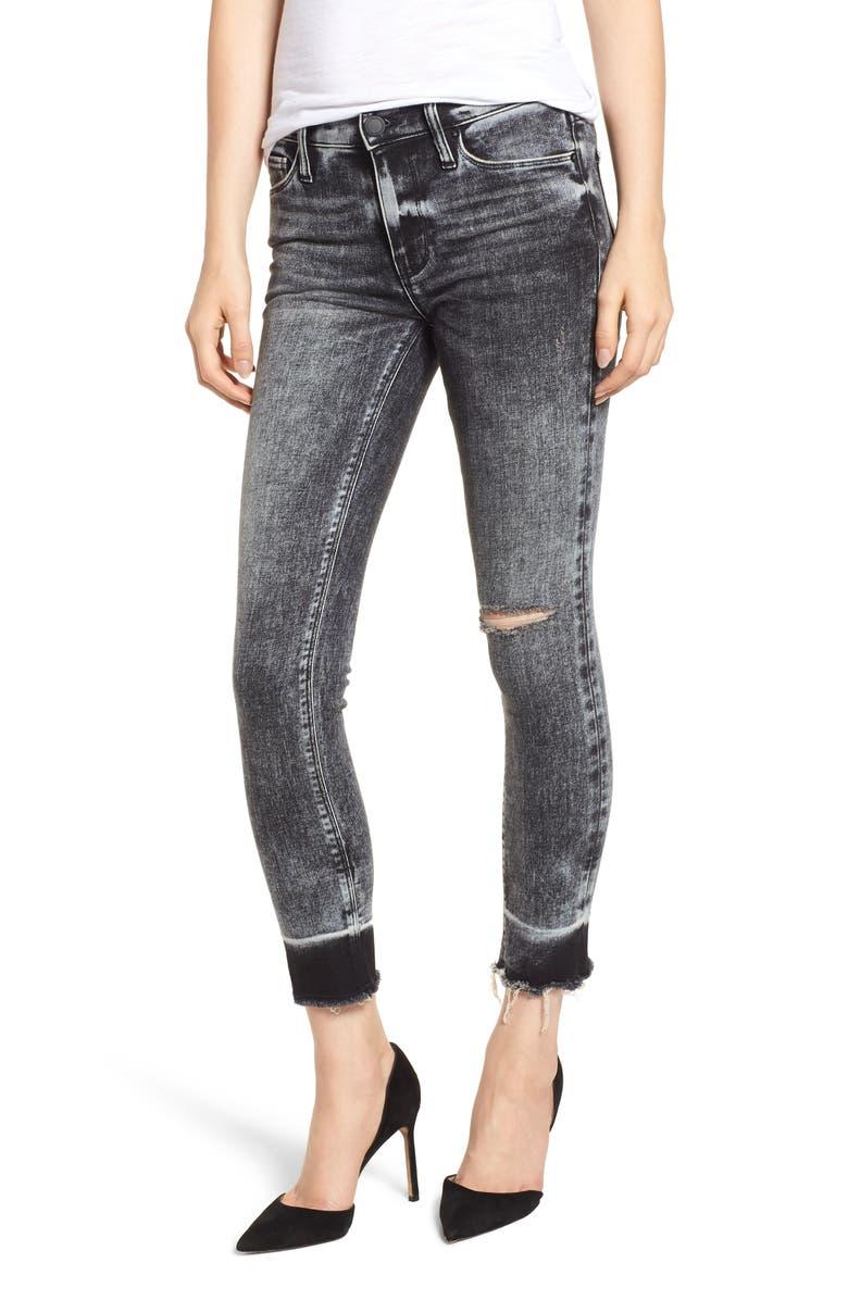HUDSON JEANS Nico Raw Hem Crop Super Skinny Jeans, Main, color, PEPPER