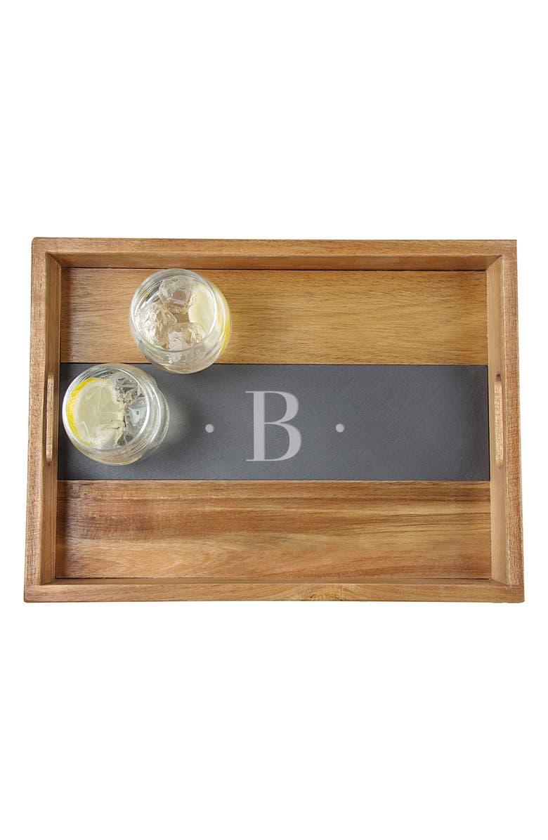 CATHY'S CONCEPTS Monogram Acacia & Slate Tray, Main, color, B