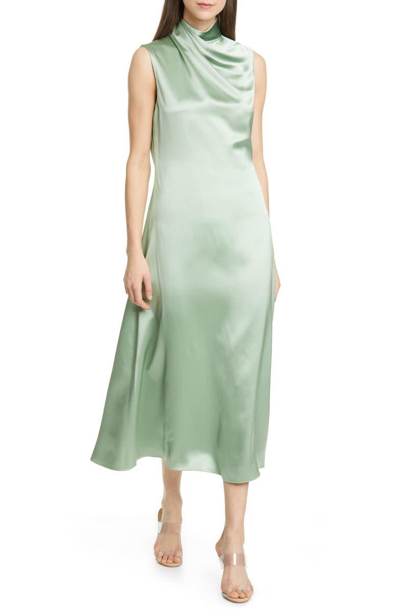 BRANDON MAXWELL Drape Neck Silk Tea Length Dress, Main, color, MINT