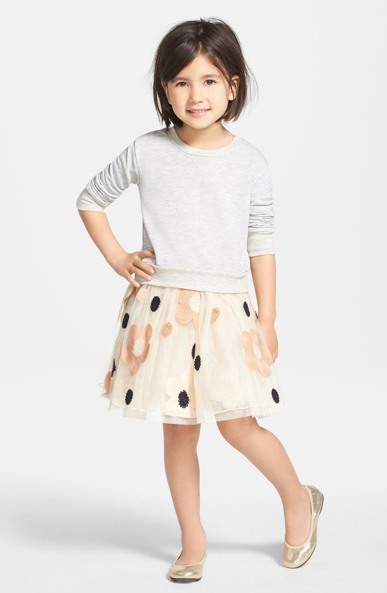 TRULY ME Tulle Dress & Sweater, Main, color, 024
