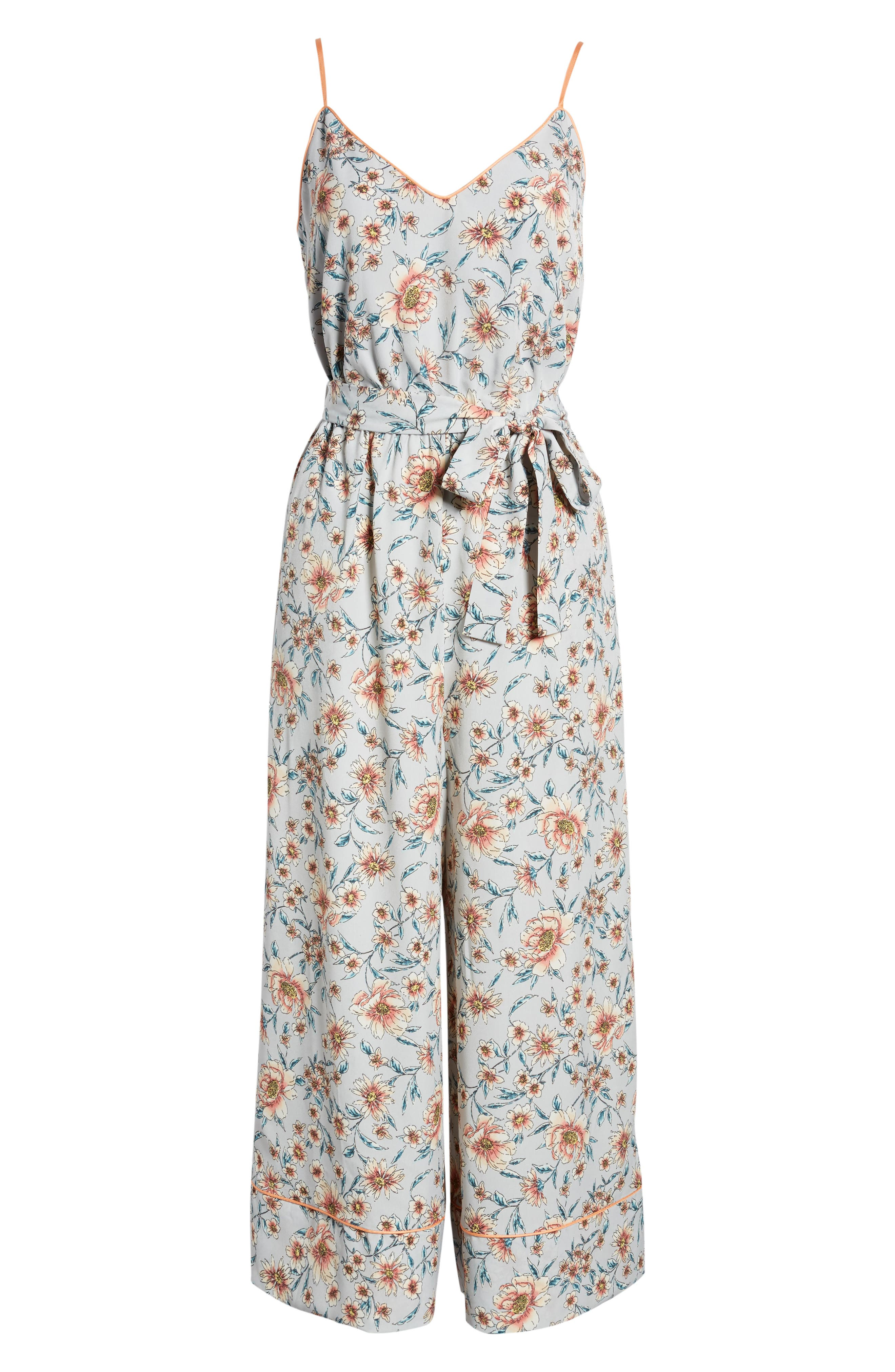 ,                             Piped Cami Jumpsuit,                             Alternate thumbnail 7, color,                             GREY KELSEY FLORAL