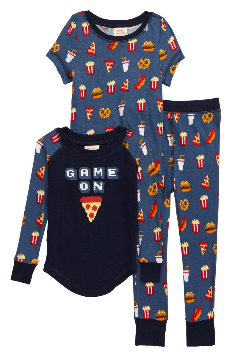 MUNKI MUNKI Game On Fitted Three-Piece Pajamas, Main, color, CHARCOAL