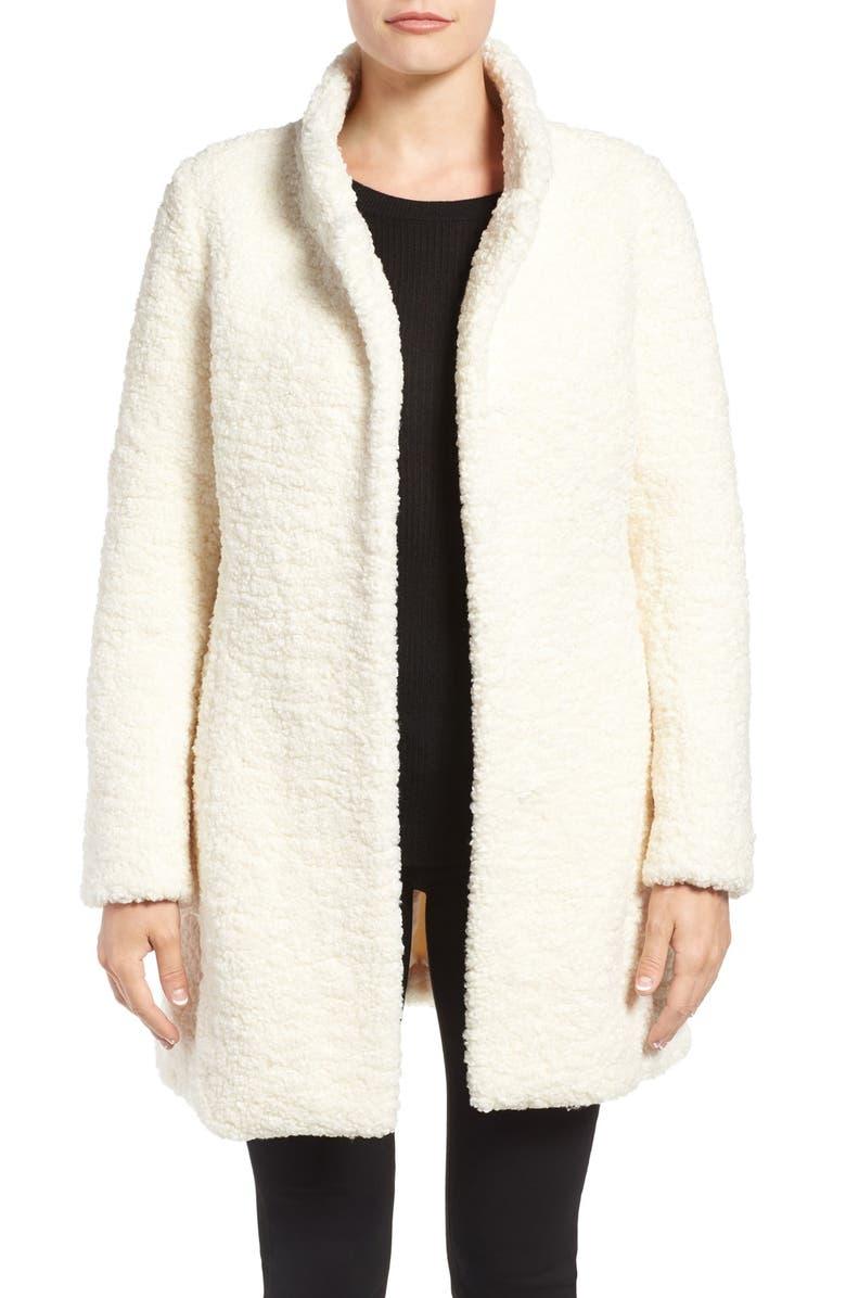 IVANKA TRUMP Textured Faux Fur Coat, Main, color, 100