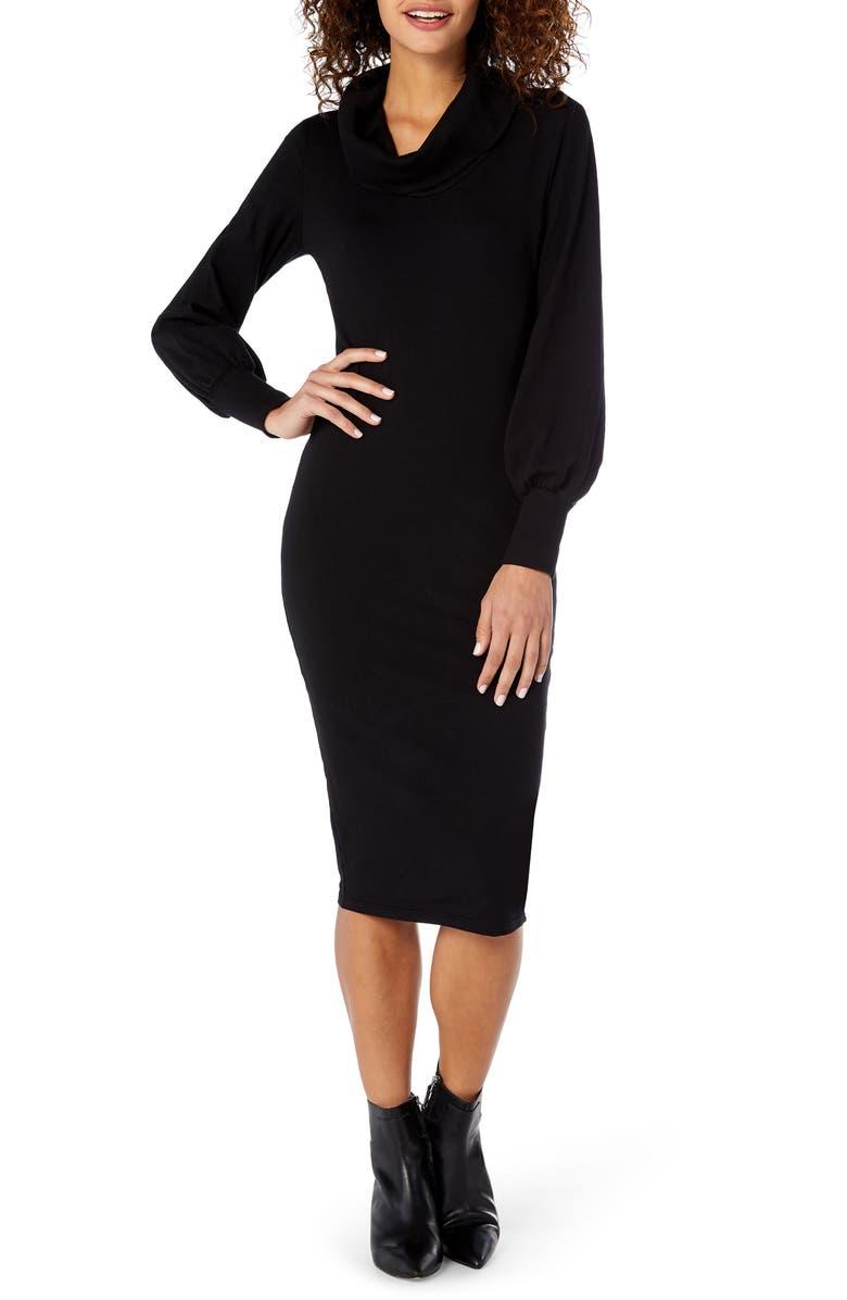 MICHAEL STARS Cowl Neck Body-Con Dress, Main, color, 001