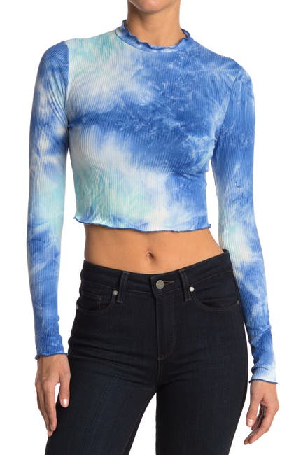 Image of Abound Cropped Long Sleeve Lettuce Edge Top