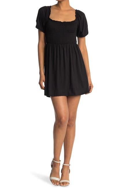 Image of Velvet Torch Puff Sleeve Smocked Mini Dress