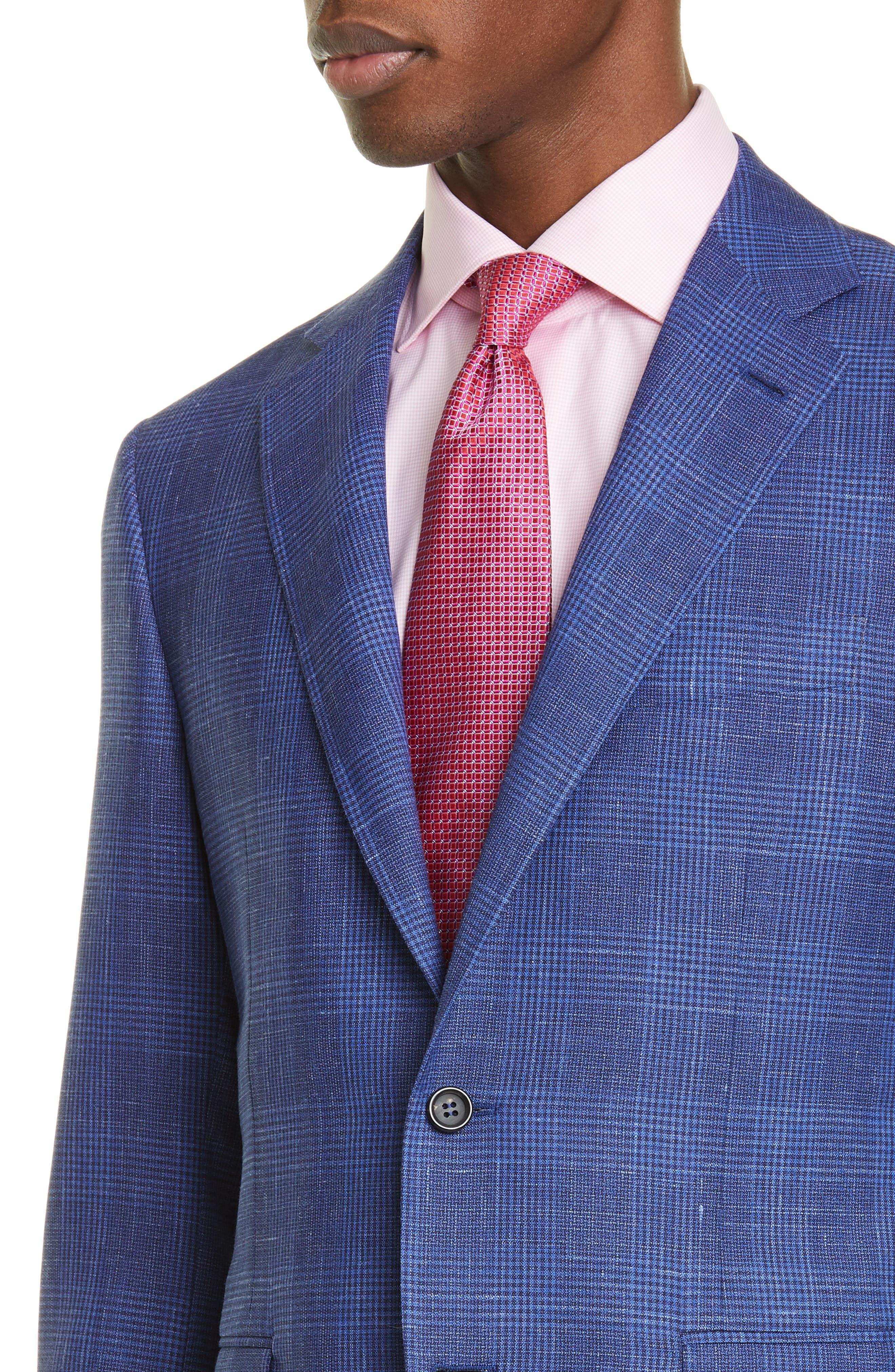 ,                             Kei Trim Fit Plaid Wool Blend Suit,                             Alternate thumbnail 4, color,                             BRIGHT BLUE