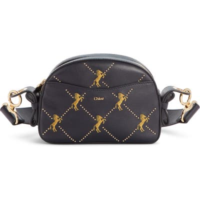 Chloe Embroidered Horse Leather Shoulder Bag - Blue