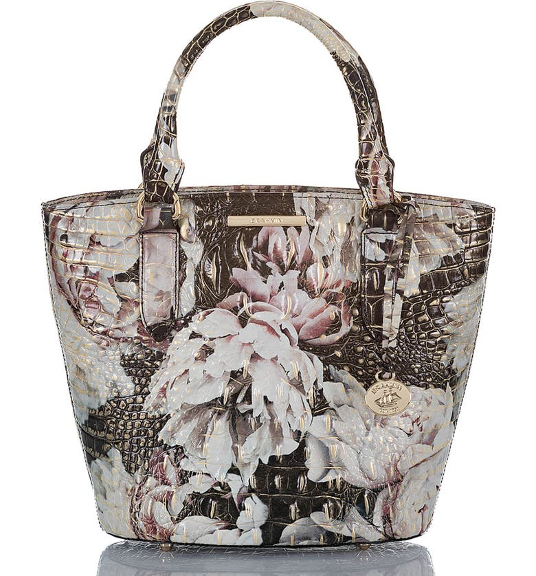 BRAHMIN Small Bowie Croc Embossed Leather Tote, Main, color, EDEN MELBOURNE
