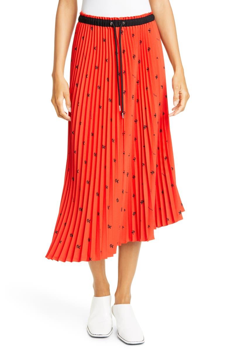 PROENZA SCHOULER WHITE LABEL Proenza Schouler PSWL Pleated Asymmetrical Skirt, Main, color, POPPY/ BLACK BEAR