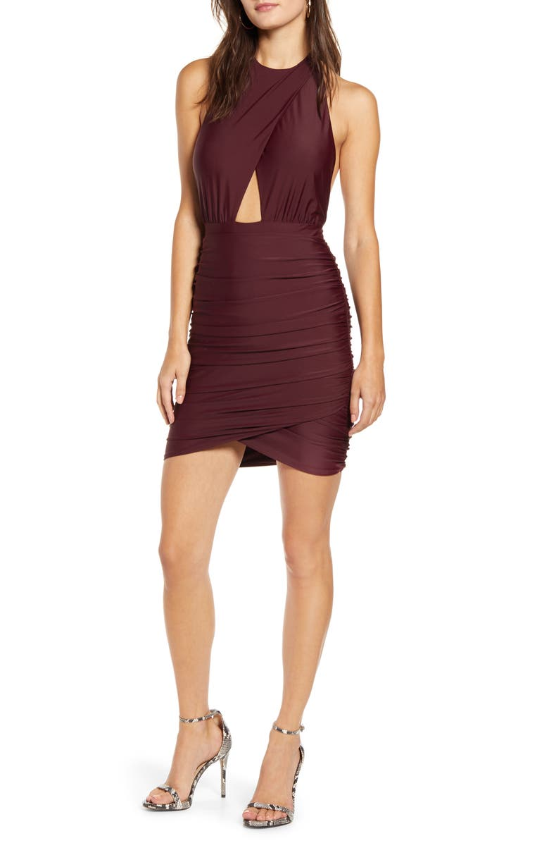 TIGER MIST Not Your Girl Halter Body-Con Dress, Main, color, PLUM