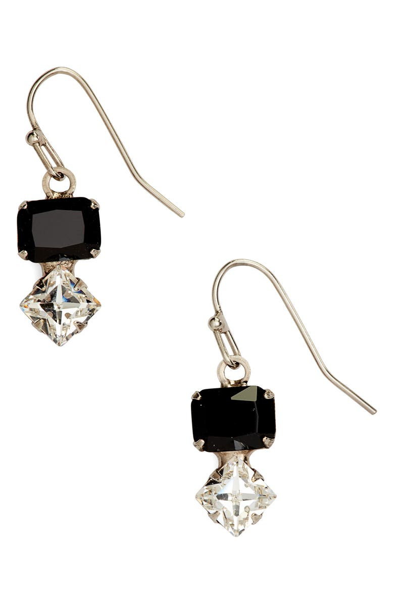 SORRELLI Small Crystal Drop Earrings, Main, color, BLACK