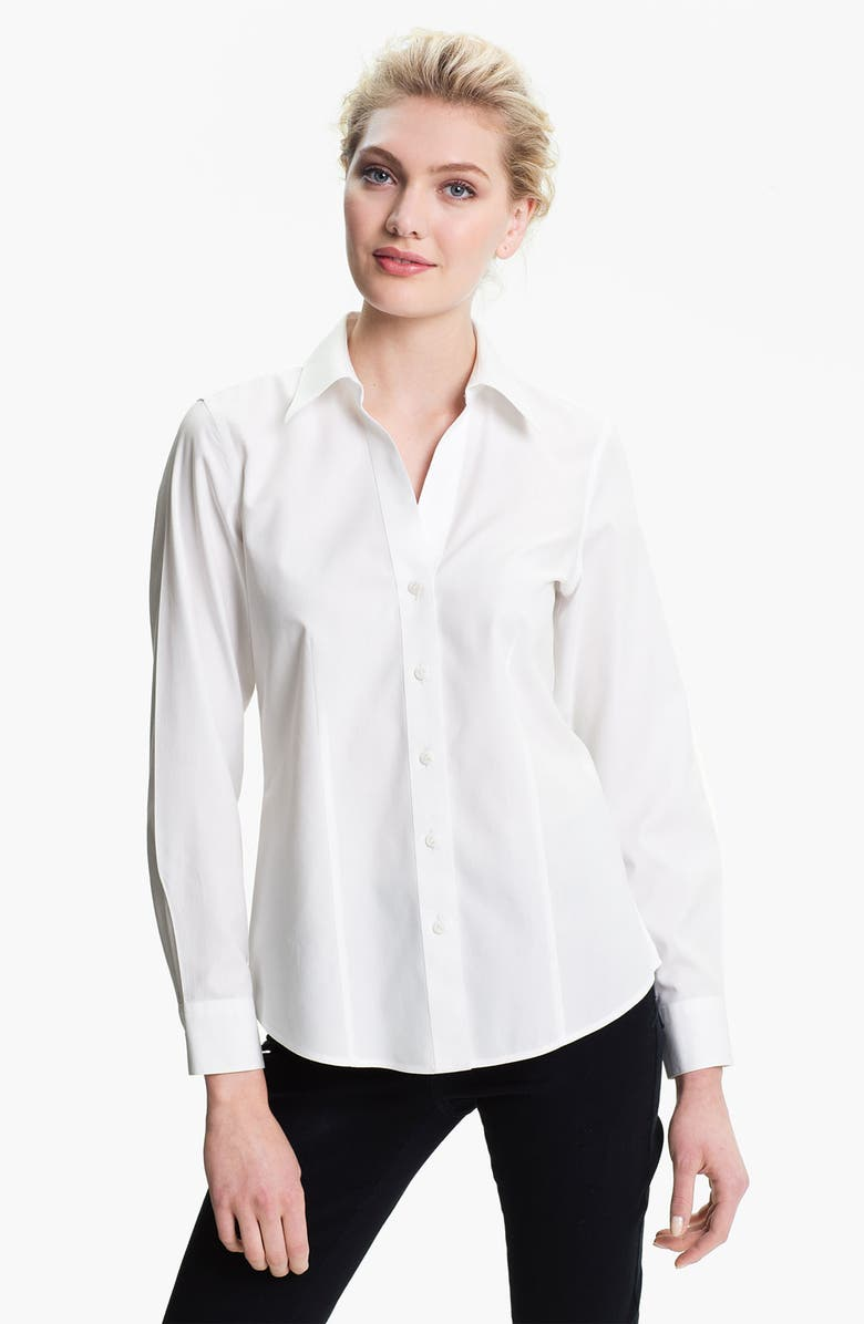 FOXCROFT Non-Iron Fitted Shirt, Main, color, 100
