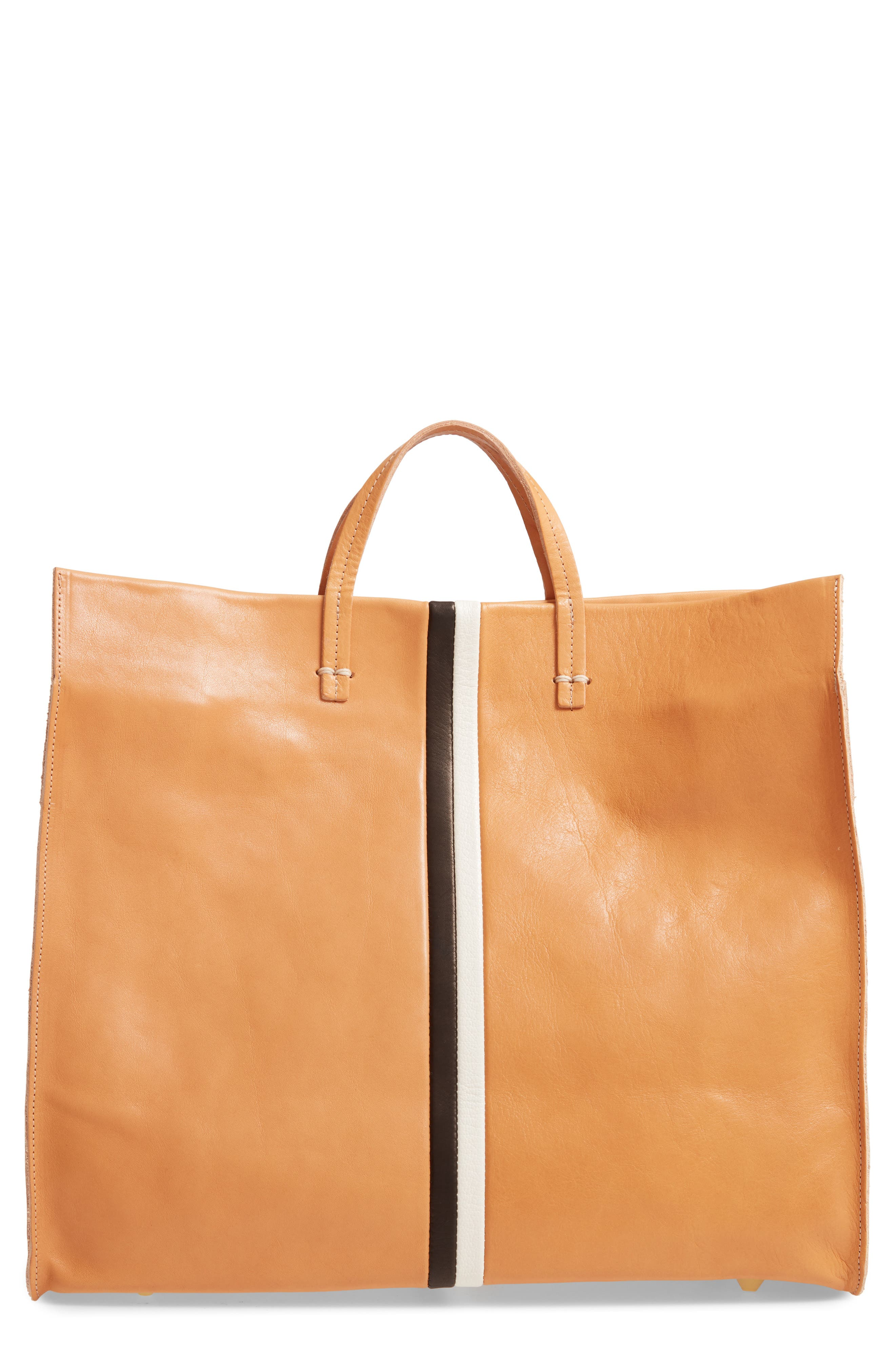 ,                             Simple Stripe Leather Tote,                             Main thumbnail 1, color,                             200
