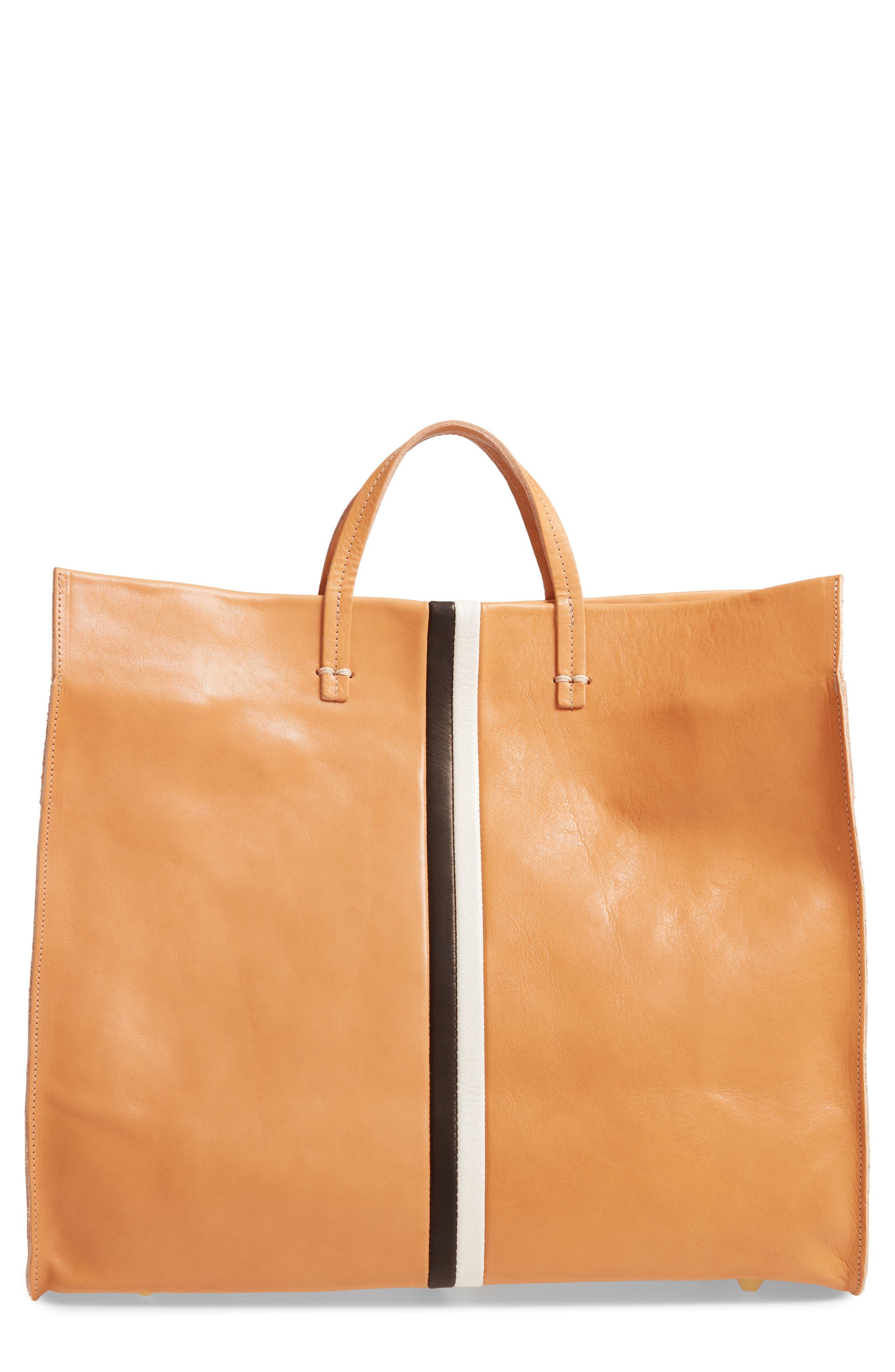 Simple Stripe Leather Tote, Main, color, 200