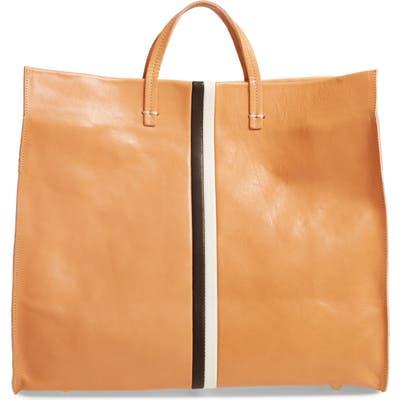 Clare V. Simple Stripe Leather Tote - Brown