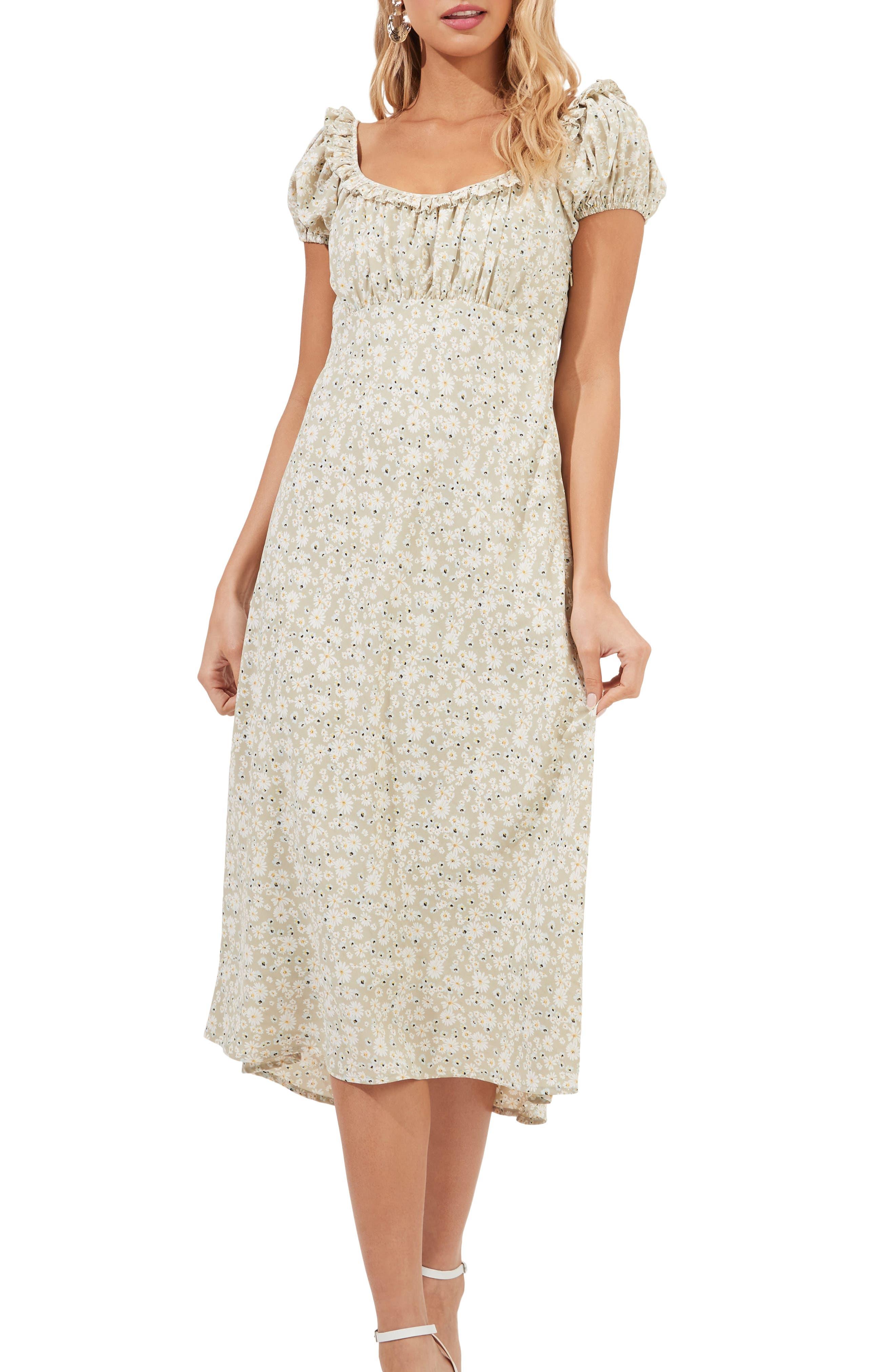 Ditsy Floral Ruffle Neck Midi Dress