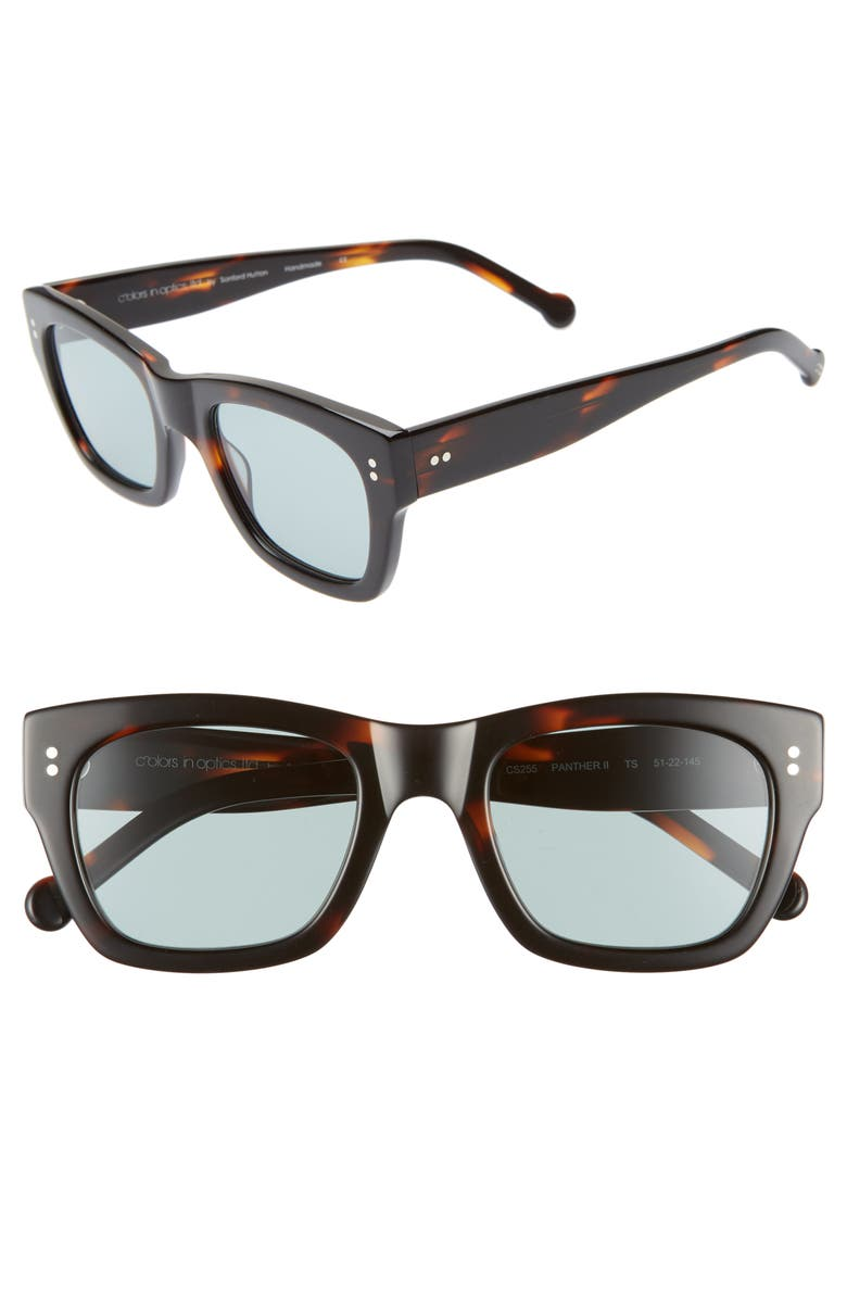 COLORS IN OPTICS Panther 51mm Mirrored Rectangular Sunglasses, Main, color, TORTOISE