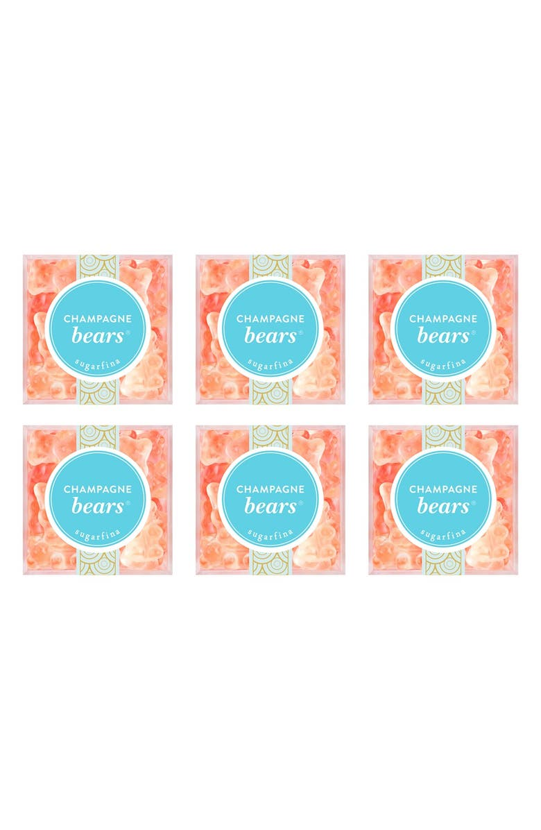 SUGARFINA Set of 6 Champagne Bears<sup>®</sup> Candy Cubes, Main, color, PINK