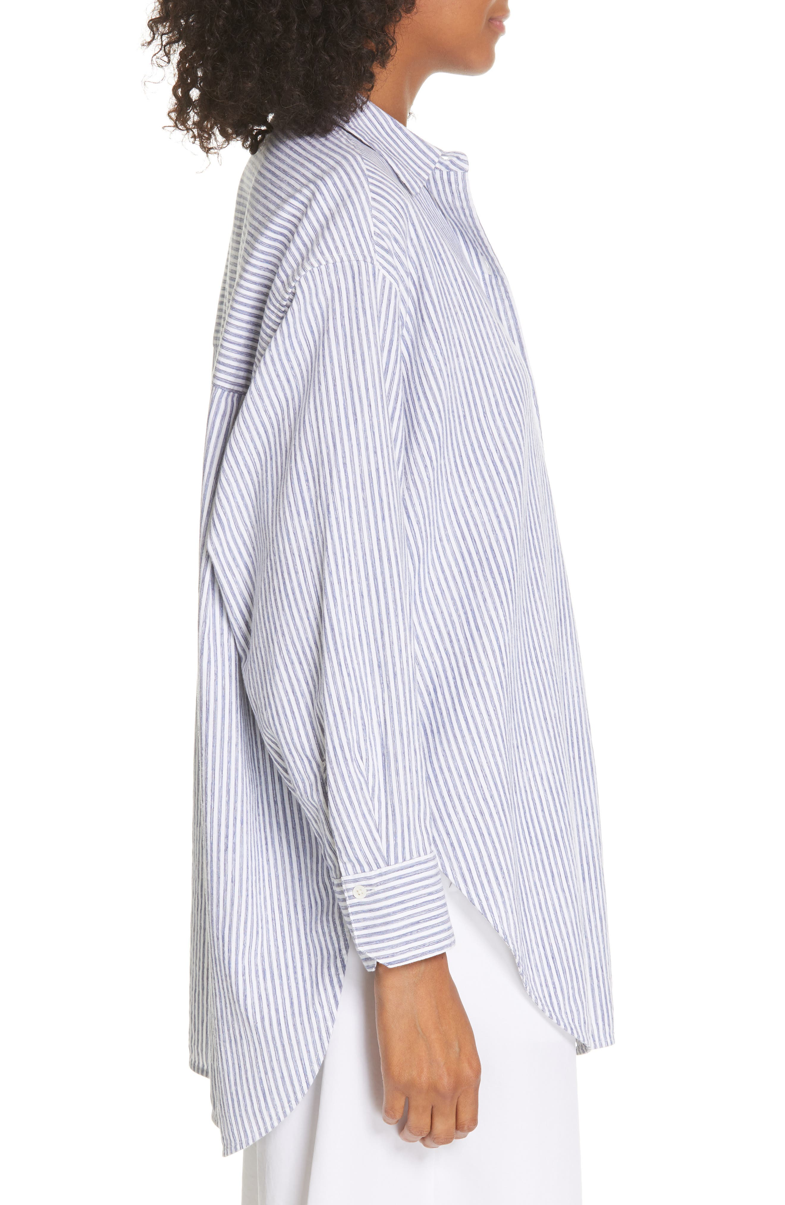 ,                             Stripe Oversize Cotton Blend Blouse,                             Alternate thumbnail 3, color,                             INDIGO