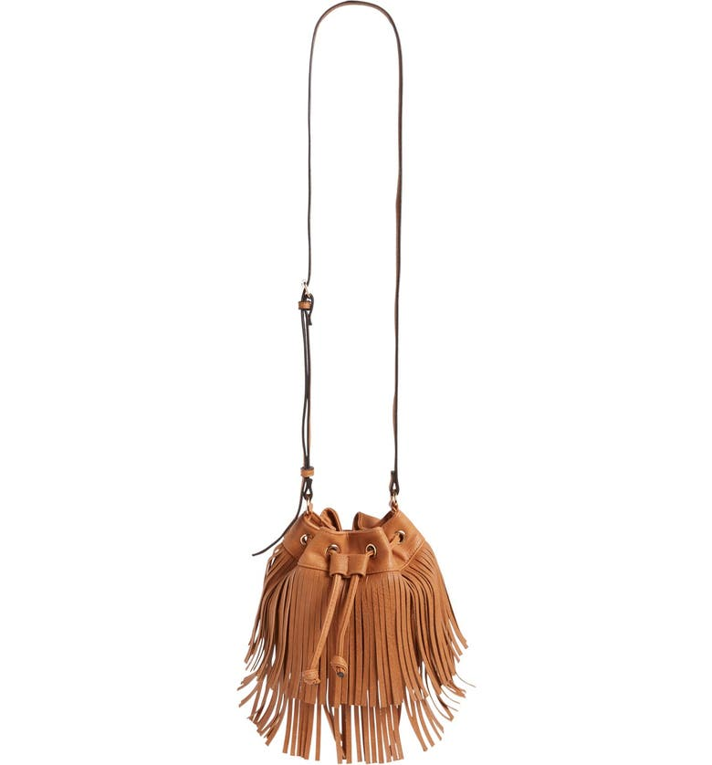 SOLE SOCIETY Mini Fringe Faux Leather Bucket Bag, Main, color, 200