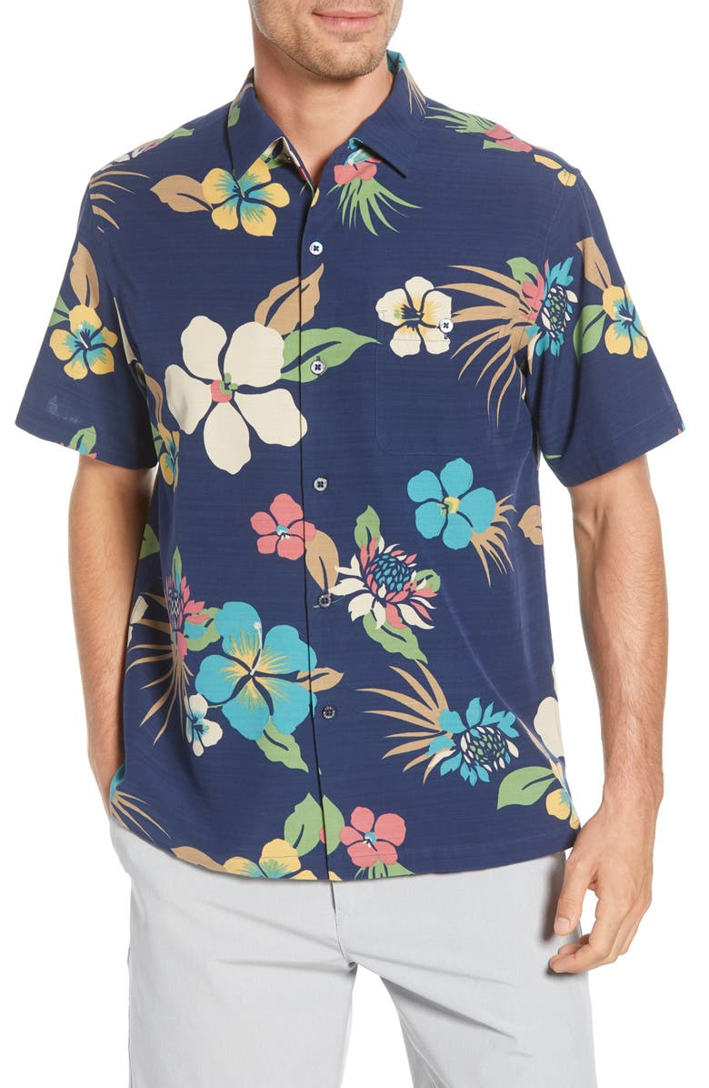 TORI RICHARD Protea Classic Fit Floral Short Sleeve Button-Up Shirt, Main, color, NAVY